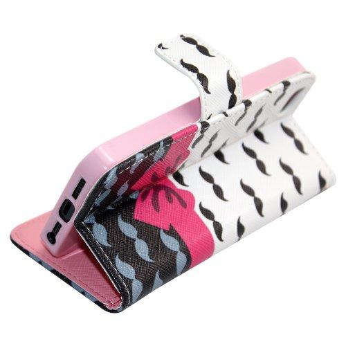 Apple iPhone 5 5S Kunstleder Moustache Design Schutz-Hülle Case Flip Tasche Cover thematys®