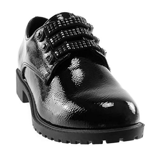 Elegante CM Blocco Derby Stile Angkorly Elastico Strass 3 Verniciato Nero a Slip Tacco Donna on Scarpa Vintage Scarpe Moda wTqxqYFf