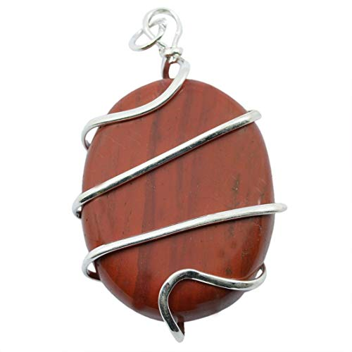 Reiki Crystal Products Red Jasper Natural Stone Pendant Wire Wrapped Oval Pendant Semi Precious Stone Pendants for Unisex ()
