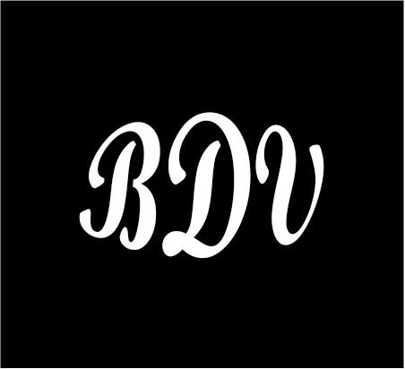 6-white-monogram-3-letters-bdv-initials-bold-font-script-style-vinyl-decal-for-cup-car-computer-any-