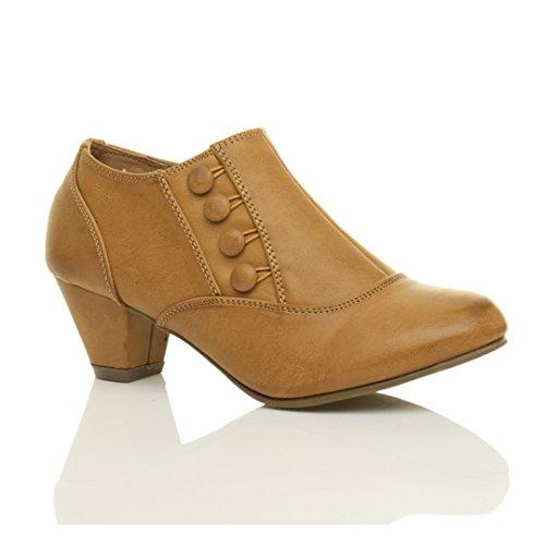 Ajvani Damen Hoher Absatz Knöpfe Reißverschluss Knöchel Schuh Stiefeletten Größe Hellbraun
