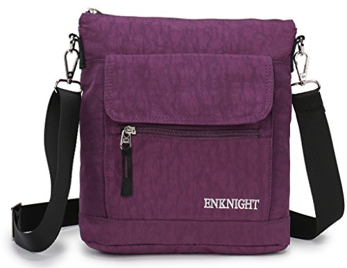 Crossbody ENKNIGHT Purple Bag Women Nylon Shoulder for Purse handbags Travel 77w5ATqz