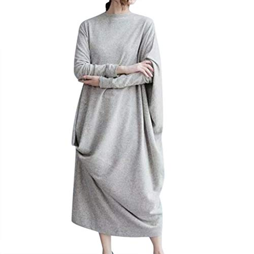 iQKA Women's Plus Size Casual Long Sleeve O-Neck Solid Oversized Comfort Maternity Baggy Long Maxi Dress -