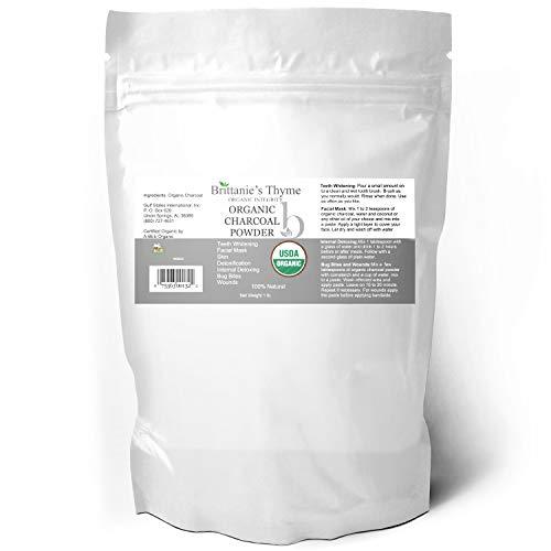 Organic Charcoal Powder, 1 lb - USDA Certified Organic. Food Grade Powder, Non-GMO, Vegan, No Fillers 100% Pure Use for teeth Whitening Facial Masks Detoxing ()