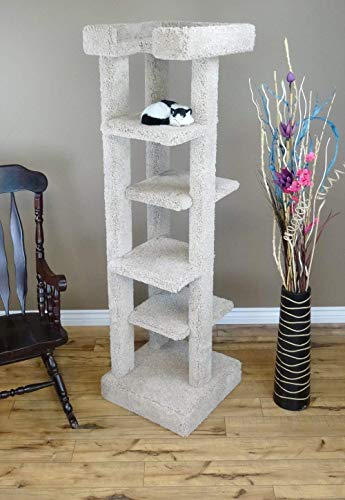 New Cat Condos Solid Wood 5 Level Cat Tree Tower, Beige, Large