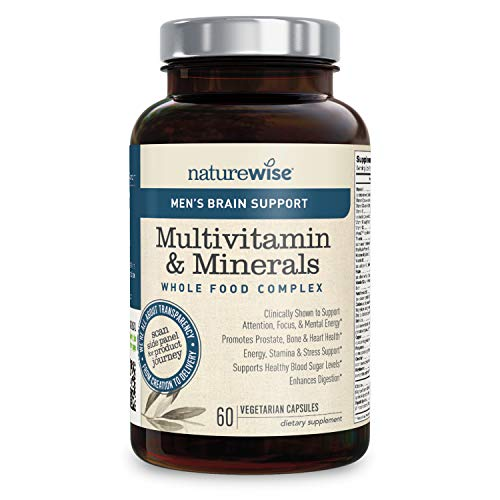 (NatureWise Men's Multivitamin with Brain Support | Whole Food Multivitamin & Minerals Complex for Optimum + Brain Boost from Cognizin Citicoline (⬇ Watch Product Video in Images) 60 Ct)
