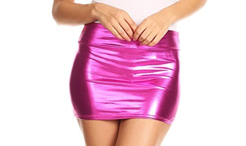 Sakkas 8255 - Kaie Women's Shiny Metallic Liquid Wet Look Mini Skirt - Pink - S