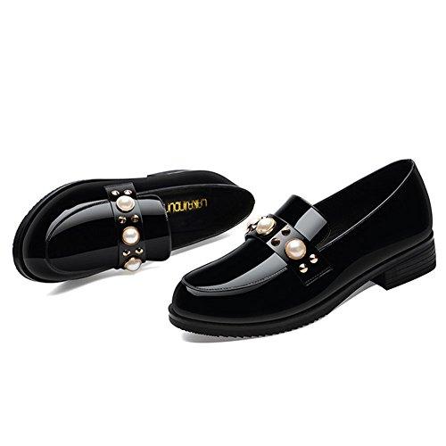 New Casuales Primavera pequeños Zapatos Solos de Negro Viento England Zapatos Color de Mujeres 37 Cuero Las tamaño Zapatos 2018 qxAYfw