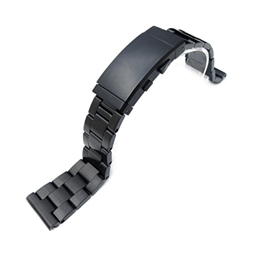 22mm Super Oyster Solid SS Straight End Watch Band, PVD Black, Ratchet Buckle