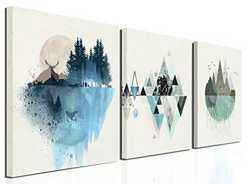 Geometric mountain decoration illustrations Canvas Wall Art Abstract Modern Geometry Mountain in Daytime Paintings 12inx16inx3 Panels Artworks Pictures Posters for Living Room Bedroom Bathroom Home Wa (Geometric Abstract Wall Panel)