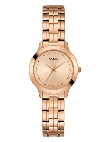 - GUESS  Classic Slim Rose Gold-Tone Stainless Bracelet Watch. Color: Rose Gold-Tone (Model: U0989L3)