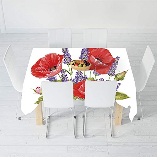 Custom Tablecloth,Lavender,for Home & Office & Restaurant Table Tea Table,40.2 X 20.1 Inch,Bunch of Lavender and Poppy Flowers Fresh