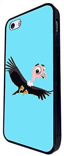 1134 - Cute Fun Bird Animal Drawing Blue Design iphone SE - 2016 Coque Fashion Trend Case Coque Protection Cover plastique et métal - Noir