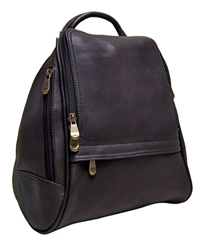 Le Donne Leather U Zip Mid Size Backpack/Purse (Café)