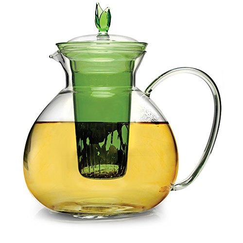 Primula 60oz Glass Teapot w/Glass Infuser and 2 Flowering Te