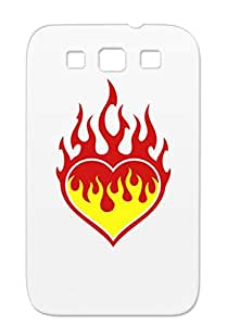 Rugged Flaming Heart Flaming Symbols Shapes Love Fire Heart Icons Flame Red TPU Case Cover For Sumsang Galaxy S3