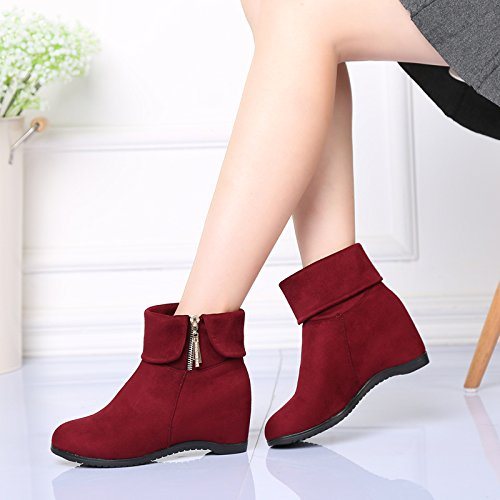 Abby 861 Mujeres Ballroom Round Toe Botas Wedge High Heel Lace Up Modern Lint Dance Zapatos Rojo