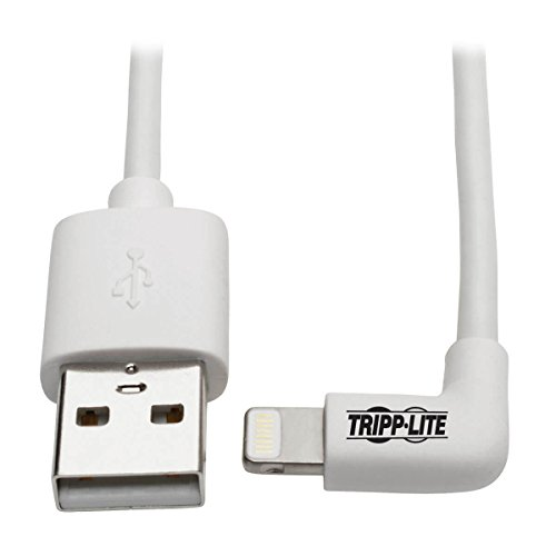 TRIPP LITE Right-Angle Lightning to USB Sync Charging Cable for iPhone iPad Apple White MFI Certified 3' ()