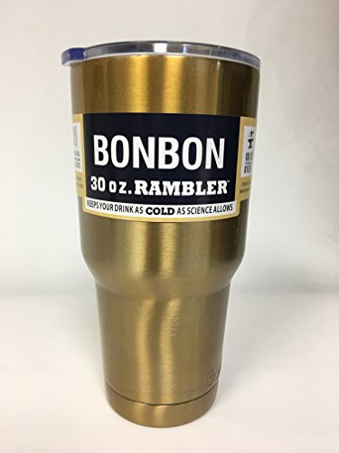 BonBon 30 oz Ounce Rambler Tumbler Stainless Steel Cup with Lid (gold)