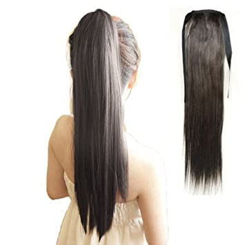 Amazon long lady girl straight ponytail wigs pony hair long lady girl straight ponytail wigs pony hair hairpiece extension black pmusecretfo Images