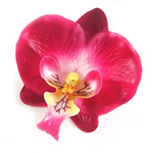 """(12) Small Burgundy Phalaenopsis Orchid Silk Flower Heads - 2"""" - Artificial Flowers Heads Fabric Floral Supplies Wholesale Lot for Wedding Flowers Accessories Make Bridal Hair Clips Headbands Dress 2"""