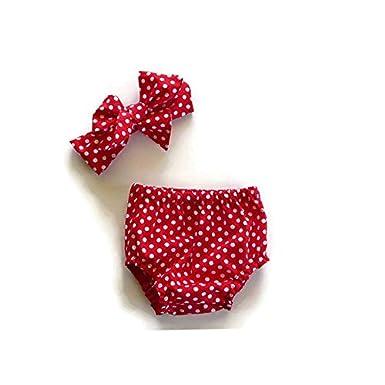 Newborn Baby Girls Cartoon Tank Top Dot Romper Short Bowknot Headband Outfit Set