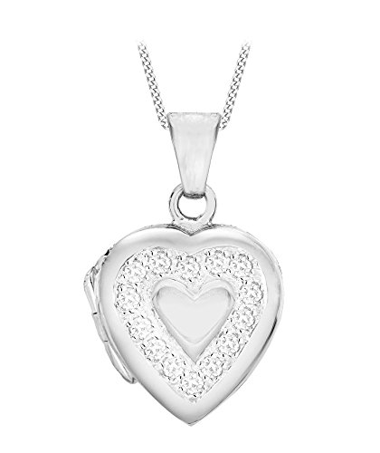 Tuscany Silver Sterling Silver Women's Heart Shaped Cut Out Flower Locket on Curb Chain Necklace of 46 cm/18 inch C3kVKX