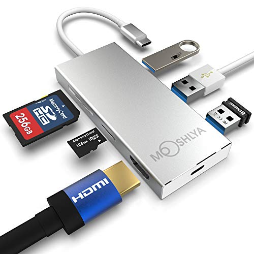 USB C Hub - 4K USB HDMI Adapter - SD Card Reader - 3 USB 3.0 Ports - Type C 3.1 Charging Port - USB C multi adapter for MacBook - Grey