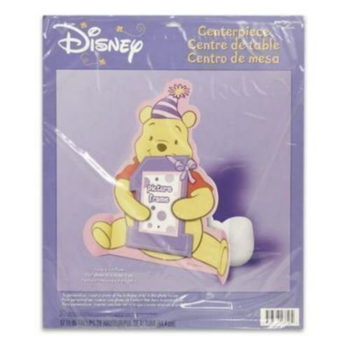 Winnie the Pooh Girl's 1st Birthday Photo Holder Centerpiece (1ct) (Pooh Winnie The Centerpiece)
