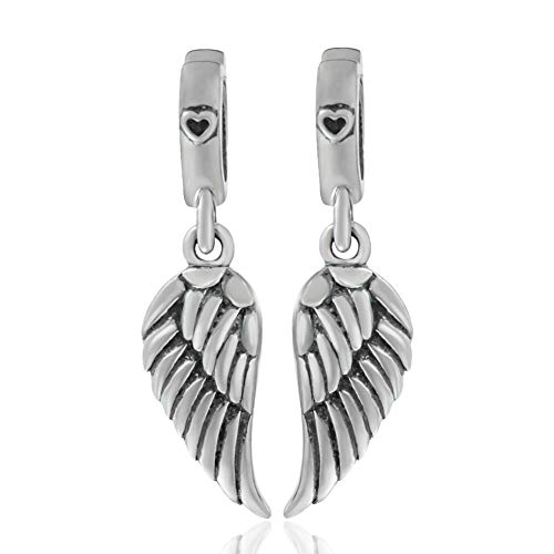 925 Sterling Silver Feathers Angel Wing Heart Shape Holiday Travel Charm Bead for DIY Necklace - Silver Angel Charm Bracelet
