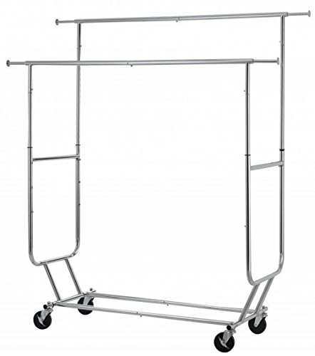 Commercial Grade Collapsible Clothing Rolling Double Garment Rack Heavy Duty Steel Hanger/ Chrome - Richmond Eyeglass Va Stores