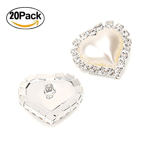 Wholesale 20 PCS Ivory Heart Rhinestone Faux Pearl Embellishments Shank Sew Buttons Bulk by ALEXCRAFT