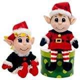 "11"" Santas Secret Elf Boy and Girl Set Christmas Plush Stuffed Animal Toy by Fiesta Toys"