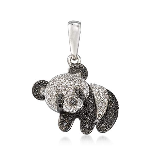 - Ross-Simons 0.15 ct. t.w. Black and White Panda Bear Pendant in Sterling Silver