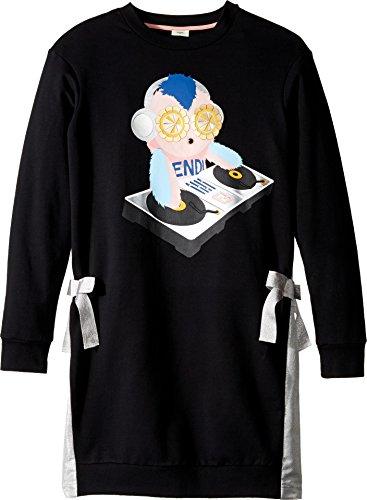 Fendi Kids Girl's Long Sleeve DJ Fendirumi Dress w/ Side Bow Ties (Big Kids) Black/Silver 12 by Fendi Kids