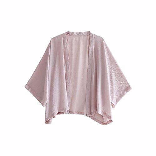 (ワンース) Wansi カーディガン レディース ショート丈 七分袖 無地 お洒落 羽織 シフォン 和風 ナチュラル 涼しい 日焼け止め 旅行