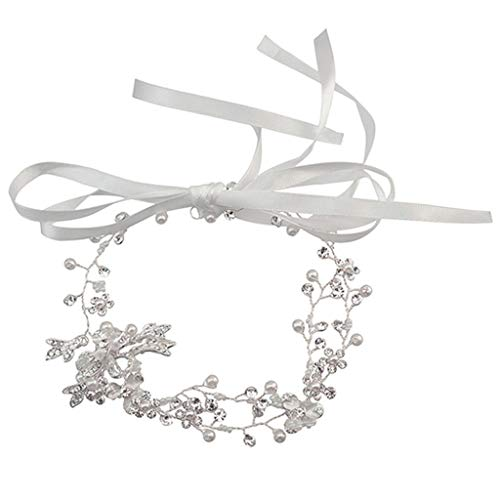 Sweet Branch (Longay Sweet Fresh Pearl Flower Branch Lace Hand Knitted Headdress Ladies Bride Jewelry (Silver))
