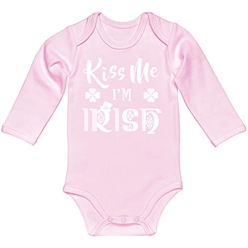 Baby Romper Kiss Me I'm Irish Light Pink