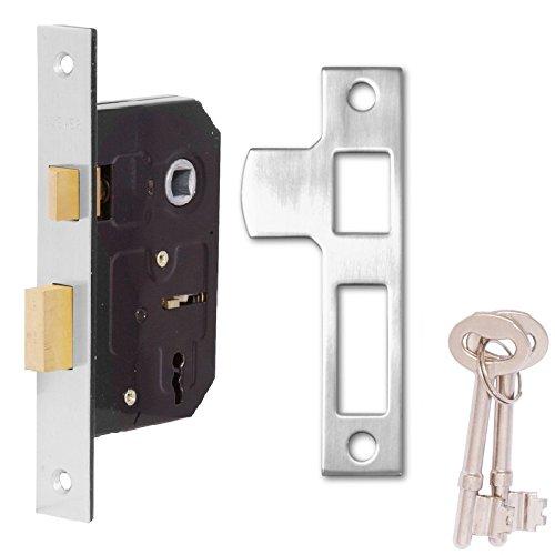 Cromado 0, 42 cm 6, 35 cm 64 mm 2 tipo YALE cerradura empotrable puntos/para cerradura cilí ndrica de puerta - 2 llaves y tornillos incluidos Rhino