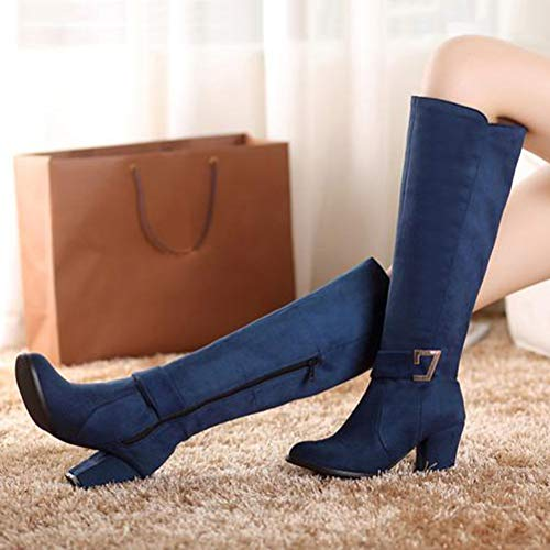 Stivali di Donna Blu Blocco Pelle Stivali Scamosciata di Stivali Stivali   132f7c