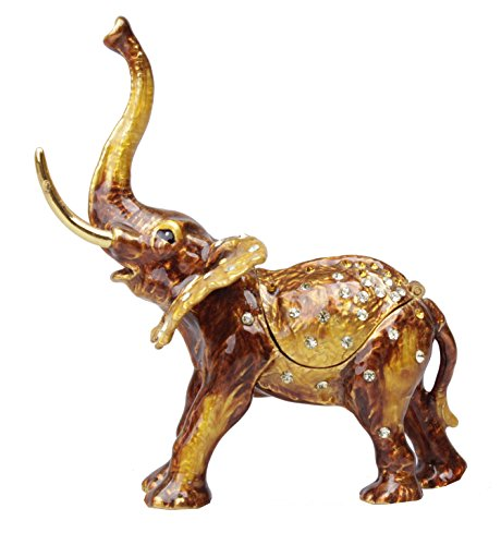 znewlook Thai Elephant Trunk up Pewter Trinket Box Collectible Statue Figurine Bejeweled Elephant Trinket Box Brown