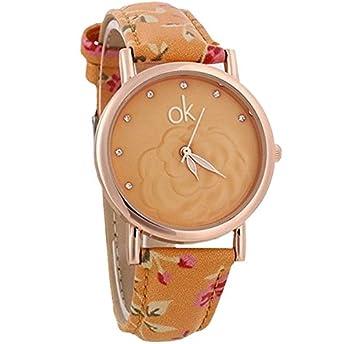 Reloj de pulsera para mujer estampado de flores rosas esfera OK ...