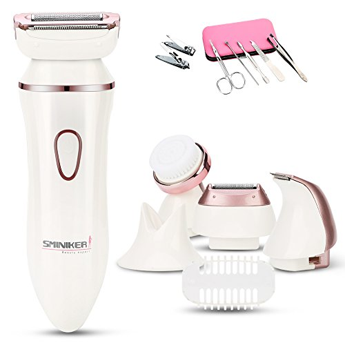 Sminiker Professional Version Electric Razor 4 in 1 Rechargeable Ladies Cordless Electric Shaver with Body Hair Bikini Trimmer Facial Cleansing Wet & Dry Use Shaver for Womens (White) (Best Womens Shavers Electric Woman)