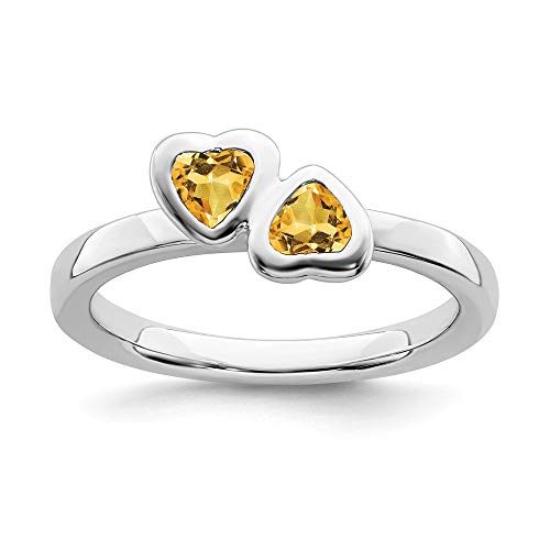 925 Sterling Silver Yellow Citrine Double Heart Band Ring Size 9.00 S/love Stackable Gemstone Birthstone November Fine Jewelry Gifts For Women For Her