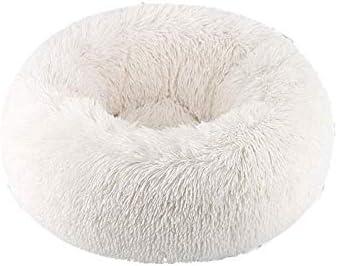 猫と小型中型犬用ペットベッド、Cuddler柔らかいクッション円形または楕円形のぬいぐるみドーナツネスティング洞窟ベッドペットの猫ベッドピンク60x60cm(24x24inch)、サイズ名:60x60cm(24x24inch)、色名:グレー (Color : White, Size : 60x60cm(24x24inch))
