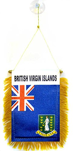 AZ FLAG British Virgin Islands Mini Banner 6'' x 4'' - Virgin Islander Pennant 15 x 10 cm - Mini Banners 4x6 inch Suction Cup Hanger ()