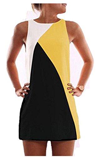 YOGLY Vestido del Vendaje de la Señora Delgada Elegante Verano Vestido Mujer de Moda Amarillo
