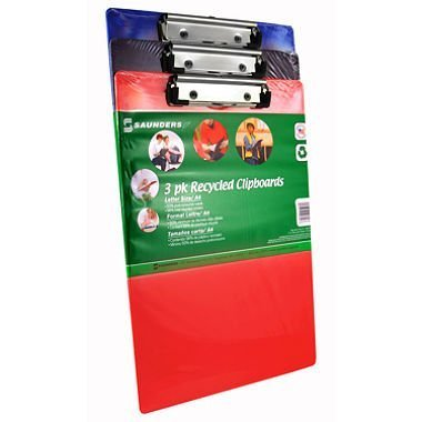 Clipboard Recyled Plastic, Assorted Colors   3 Pack By Saunders Office  Product