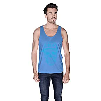 Creo Light Blue Coco Skull Tank Top For Men - L, Blue