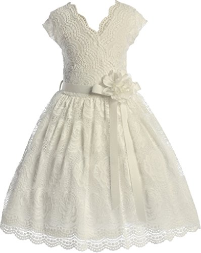 Flower Girl Dress Curly V-Neck Rose Embroidery AllOver for Little Girl Off White 8 JKS.2066 -
